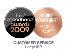 ThinkBroadband Customer Service awards 2009 - Highly commended