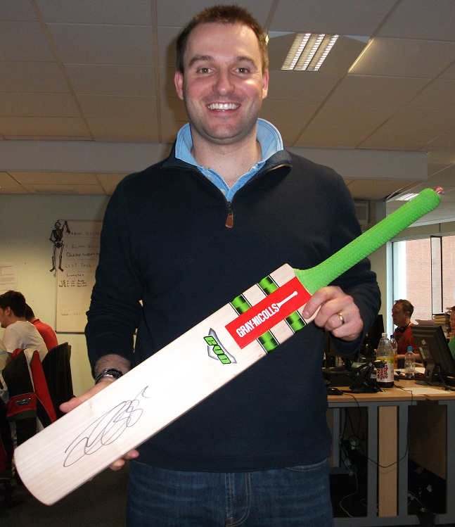 Cricket Bat signed by Alastair Cook