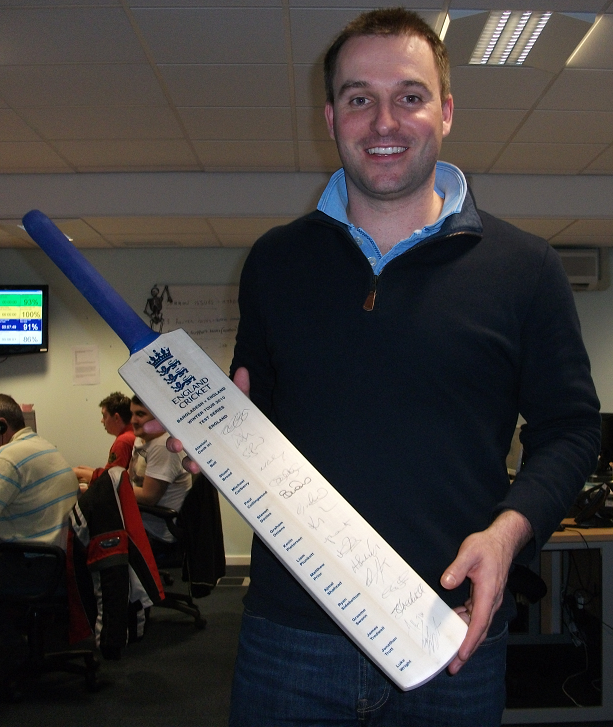 England Team signed bat (England v Bangladesh tour 2010)