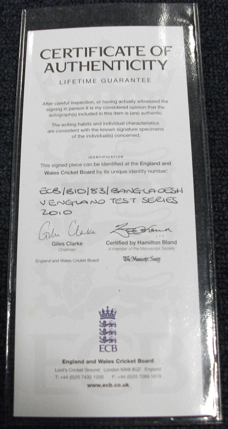 Certificate of Authenticity for England team signed bat