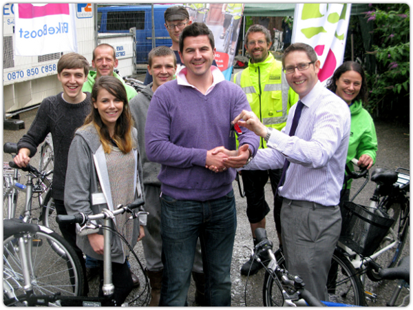 Staff from Plusnet and the Bikeboost cycling scheme.