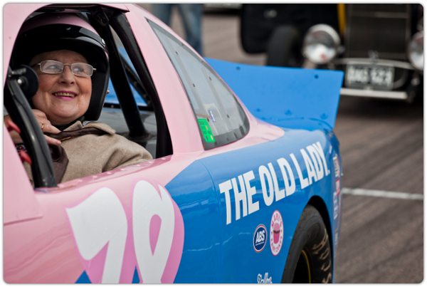 The Old Lady in a NASCAR.