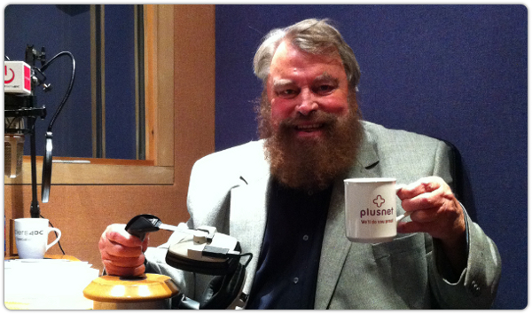 Brian Blessed in the studio with Plusnet.