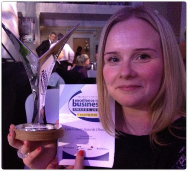 Plusnet's Laura Mottram with the award.
