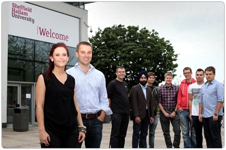 : Zoe Lomax, one of Plusnet's female graduates, with Jamie Ford, Plusnet CEO and other Plusnet graduates.