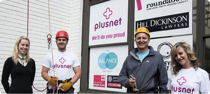 Plusnet staff at charity abseil