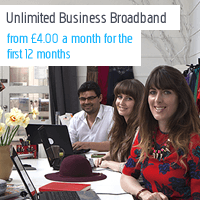 Unlimited Business Broadband from £4.00 a month