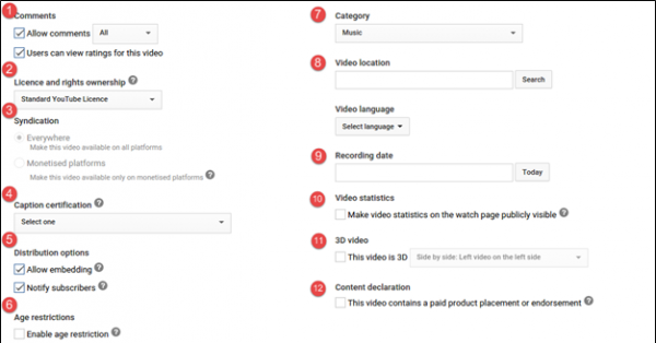 Advance Settings Page YouTube Videos