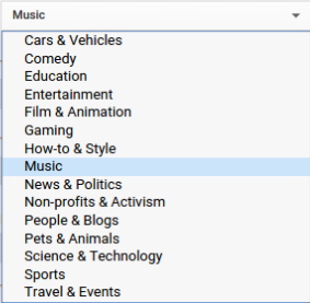 Category Options for YouTube Videos