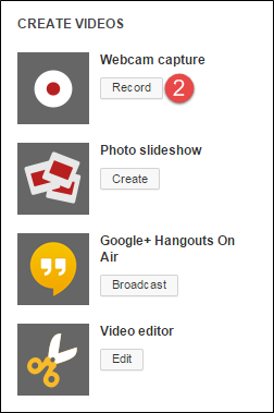 Record Button on YouTube