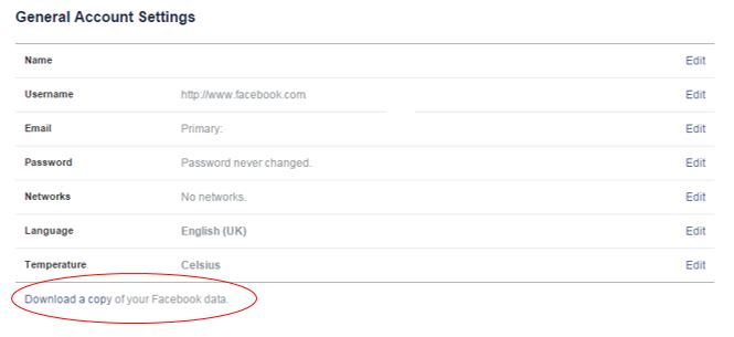 Facebook Account Options