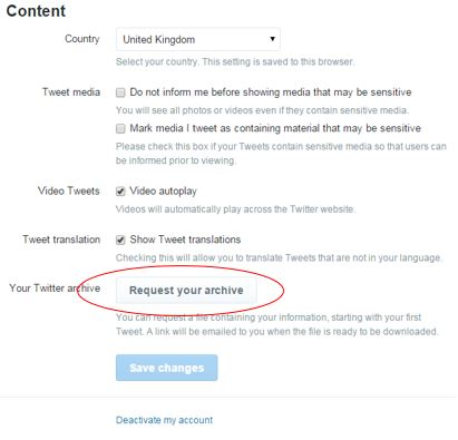 Account Settings Options on Twitter