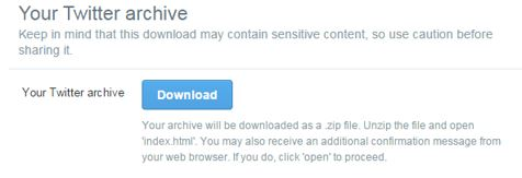 Twitter Download Data Archive Page