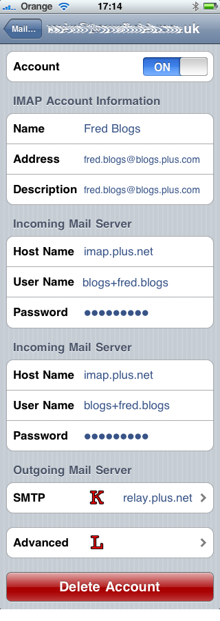 iPhone eMail settings summary