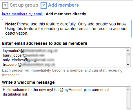 how to use a google group for email