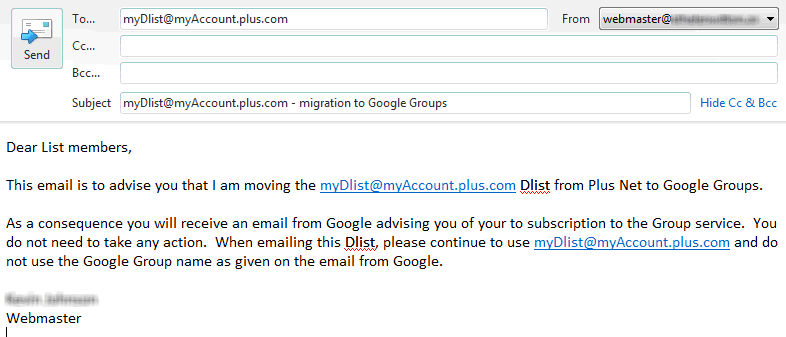 how to create a google group email list