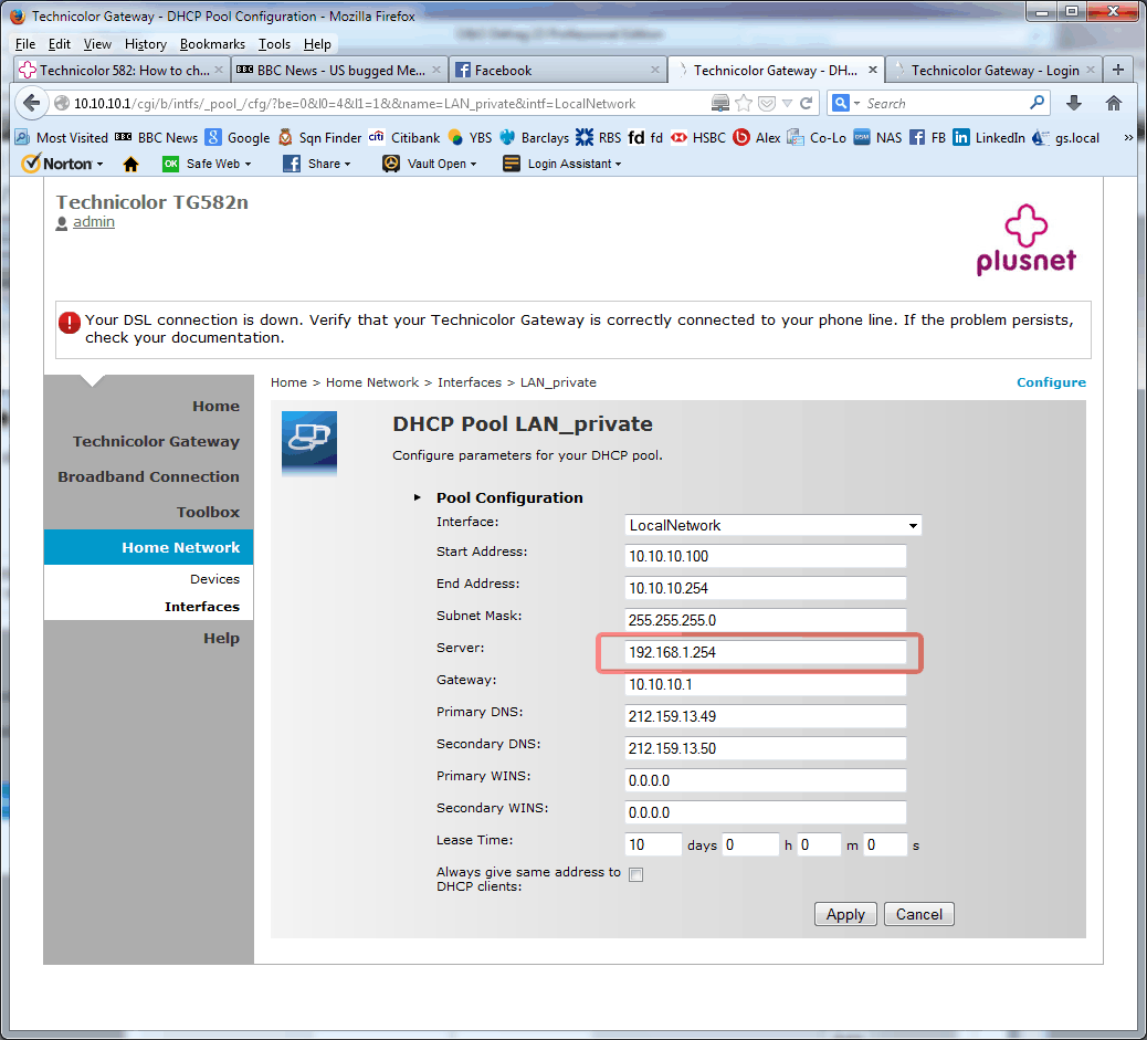 Configuring the internal interface on the Technico    - Plusnet