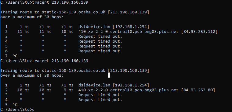 Fixed: Trace route requests getting lost inside plusnet n