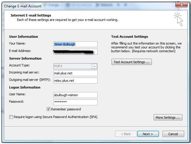 Outlook 2007 - Error 550 - Plusnet Community