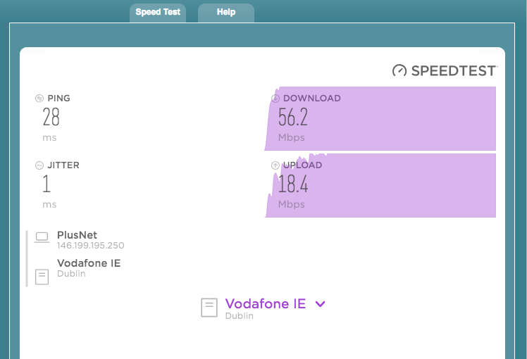 Your Minimum Guaranteed Access Line Speed:57 3Mb