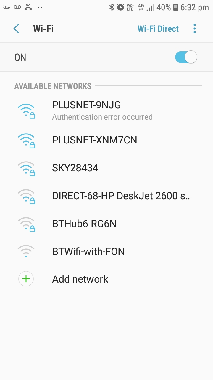 Authentication Error connecting phone to wifi - Plusnet