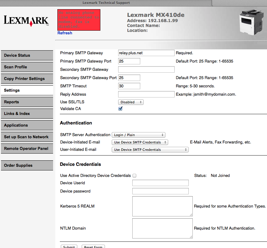 Lexmark MX410de multifunction printer: scan to ema
