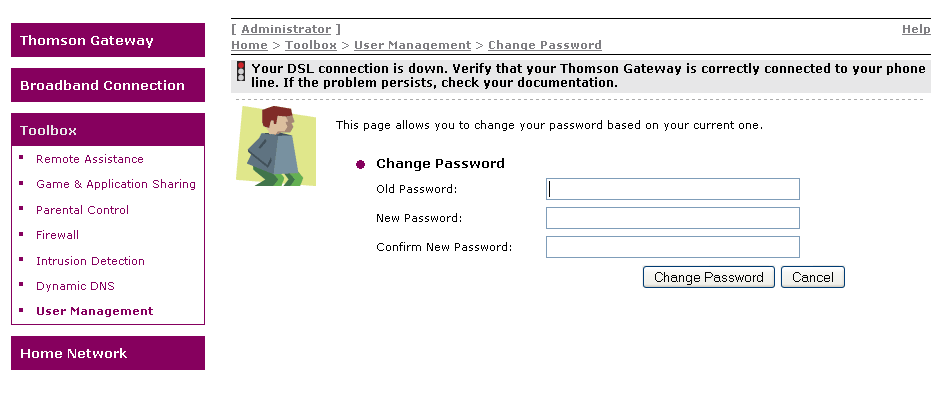 thomson dmc476 how to change password