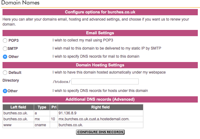 Domain name MX record to bypass Plusnet's email se    - Plusnet