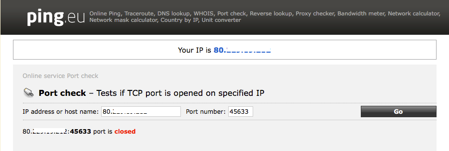 Showing external port is closed