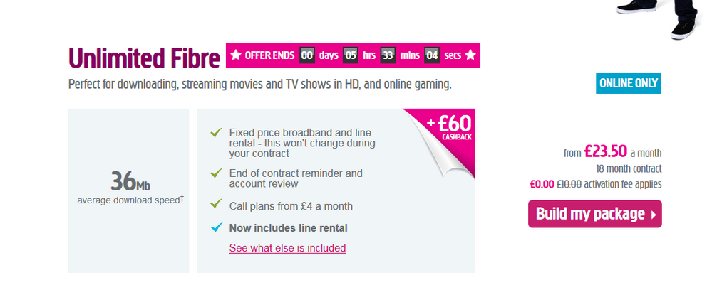 Screenshot of the offer when I signed up.