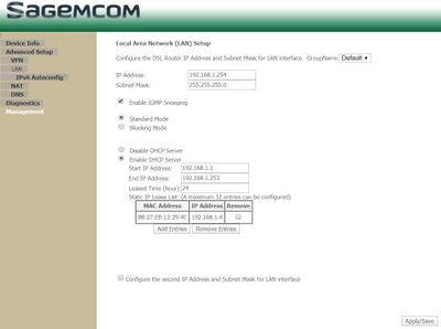 Plusnet 2704N Advanced  Setup LAN