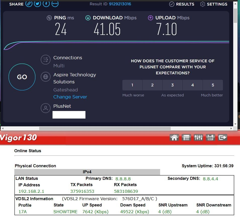 Vigor Modem and Speedtest 14-03-2020 13.00 (before moving to Plusnet router).JPG