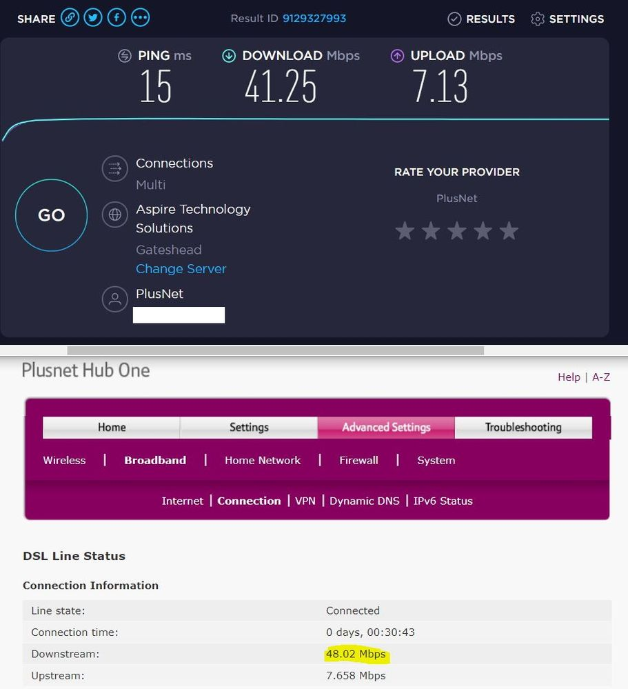 Plusnet Hub One and Speedtest 14-03-2020 13.36 (after moving to Plusnet router).JPG