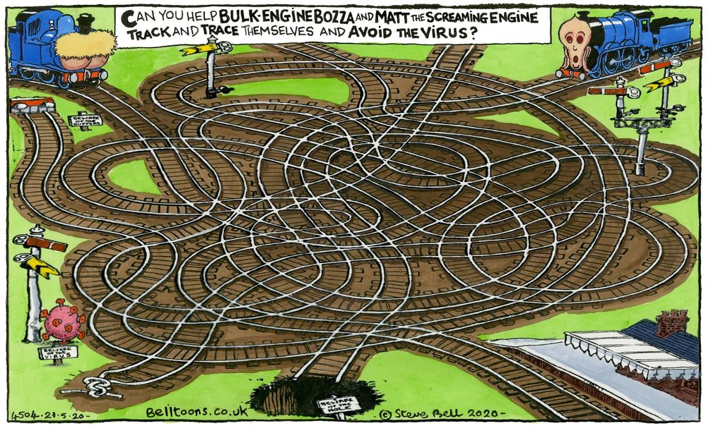 Steve Bell on the little engines that couldn't – cartoon