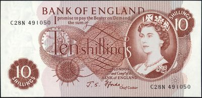 Great Britain 10 Shilling Note 1966 Queen Elizabeth II.JPG