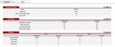WAN - xDSL stats
