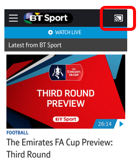 Casting Icon in BT Sport app