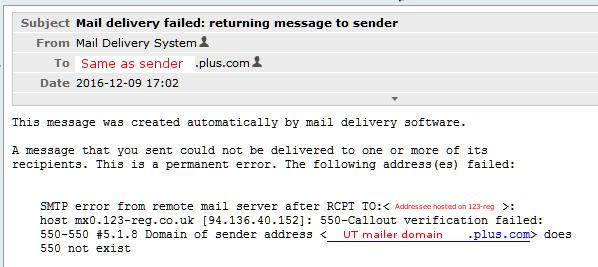 False rejection of valid sender domain - Plusnet Community