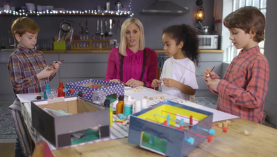 Jenni Falconer entertains the kids with DIY table football